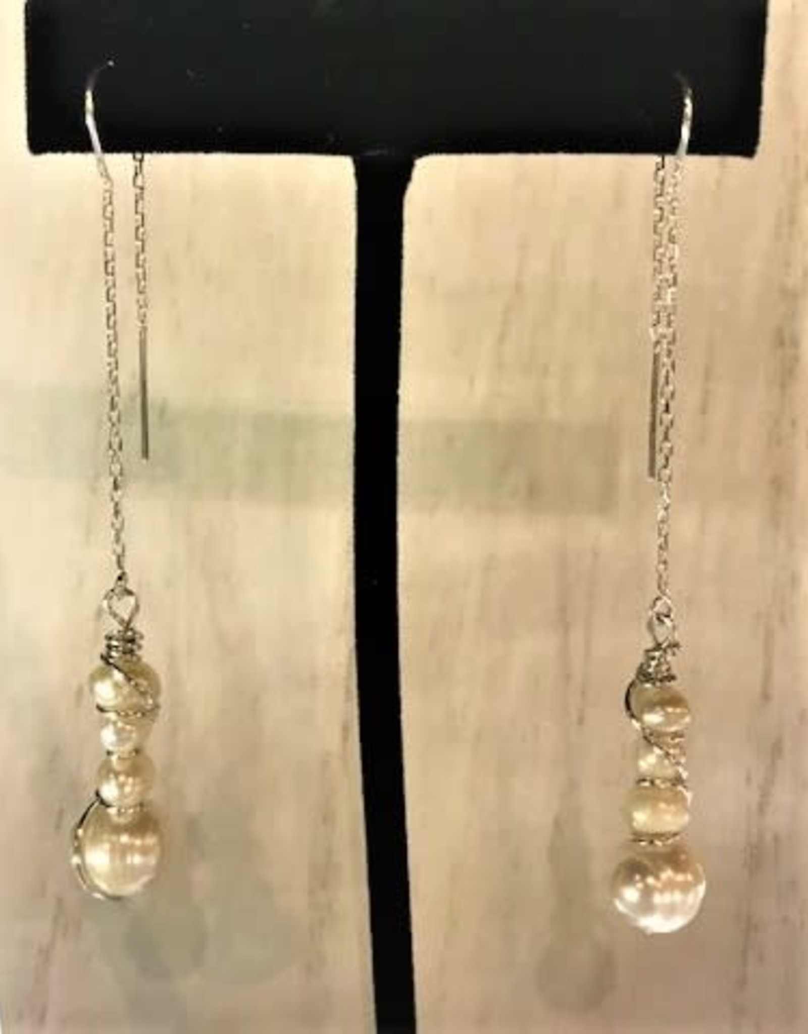 Thread Through Earrings - Freshwater Pearls/Sterling Silver