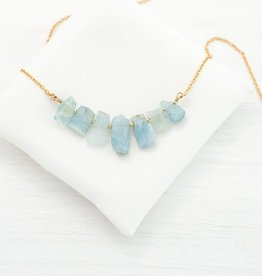 Raw Gemstone Necklace - Aquamarine/Silver