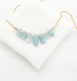 Raw Gemstone Necklace - Five Stone Aquamarine/Silver