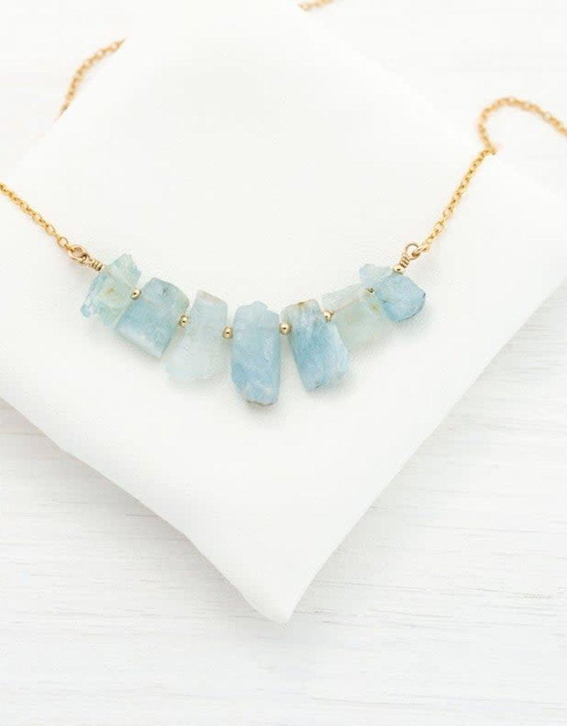 Raw Gemstone Necklace - Aquamarine/Silver