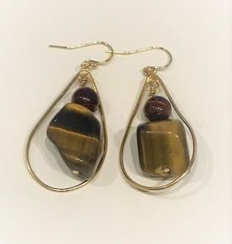 Dangle Earrings - Tiger's Eye/Gold/Teardrop