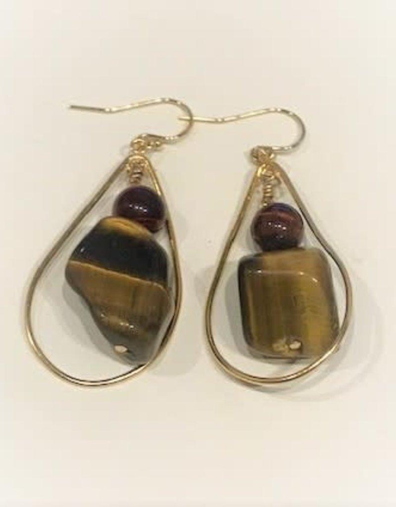 Drop Earrings - Tiger's Eye/14K Gold/Teardrop