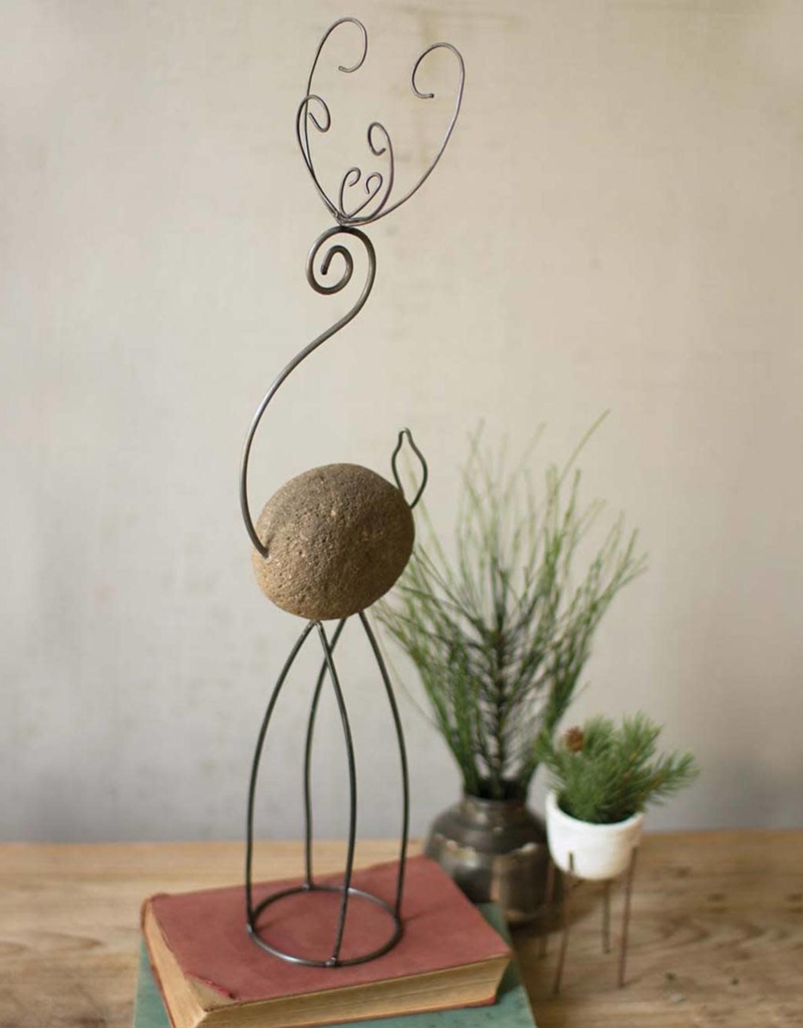 Rock and Wire Deer Sculpture