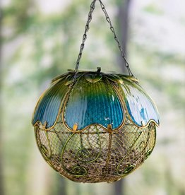 Blue Floral Mesh Bird Feeder