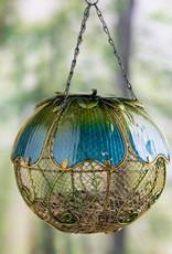 Blue Floral Mesh Bird Feeder