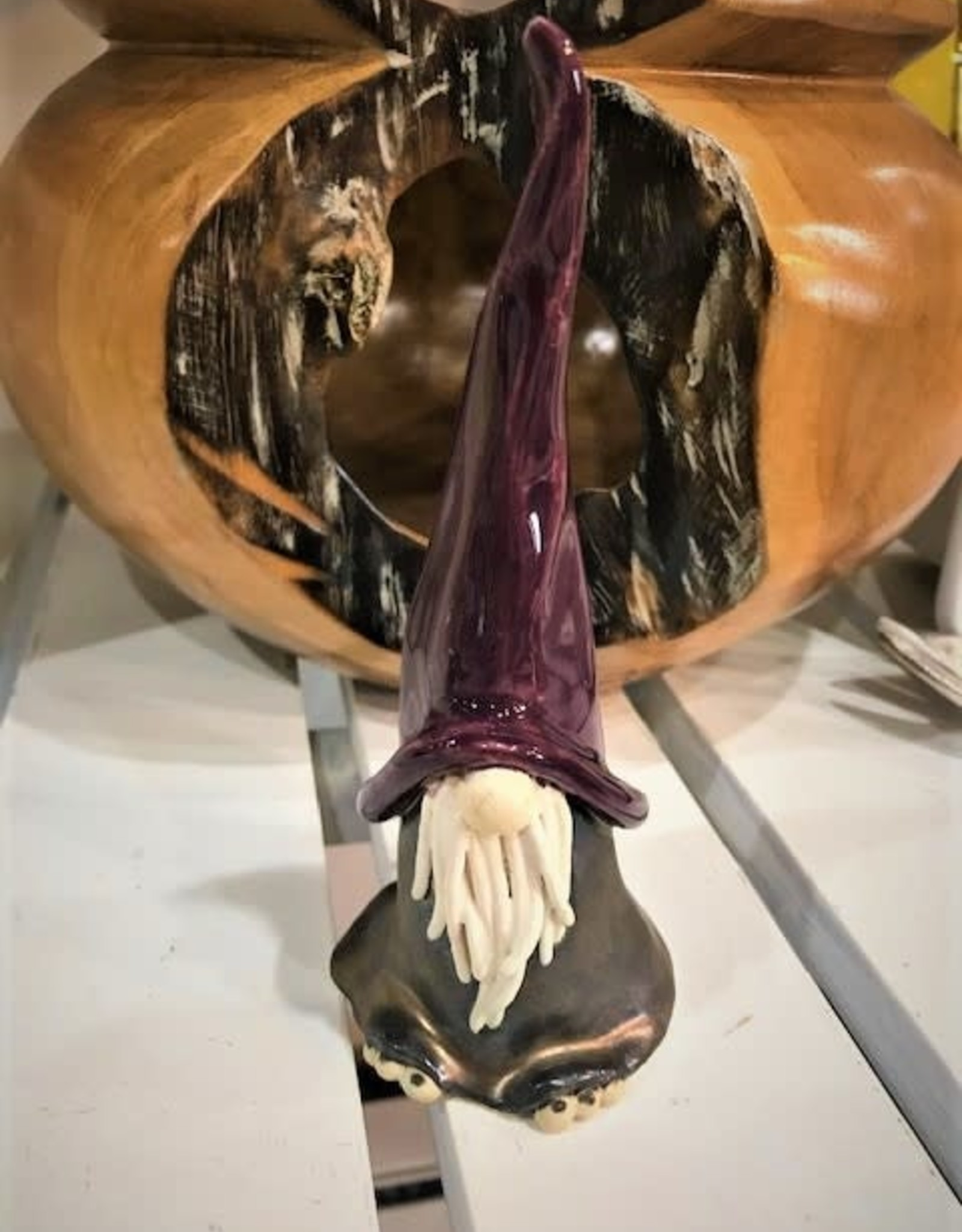 Hungry Hollow Pottery Pottery Gnome - Purple Hat