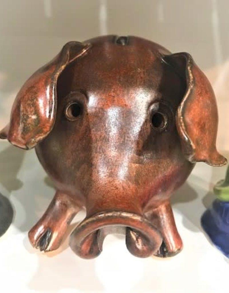Pottery Piggy Bank - Brown