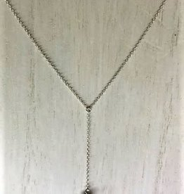 Raw Gemstone Lariat - Herkimer Diamond/Silver
