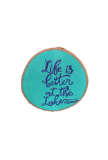 CraftCesi Handmade Magnet Large Life is Better at the Lake Blue