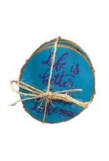 CraftCesi Handmade Coaster Set  Life Lake Blue MD