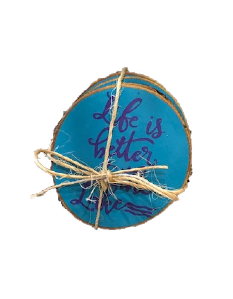Handmade Coaster Set  Life Lake Blue MD