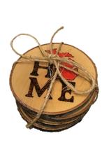 CraftCesi Handmade Coaster Set  MI Home Red MD