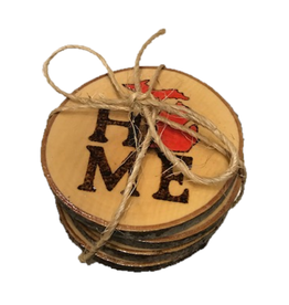 CraftCesi Handmade Coaster Set  MI Home Red MD