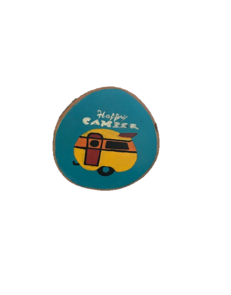 CraftCesi Handmade Magnet Large Happy Camper Colorful