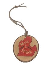 CraftCesi Handmade Ornament Merry & Bright Mitten Red M
