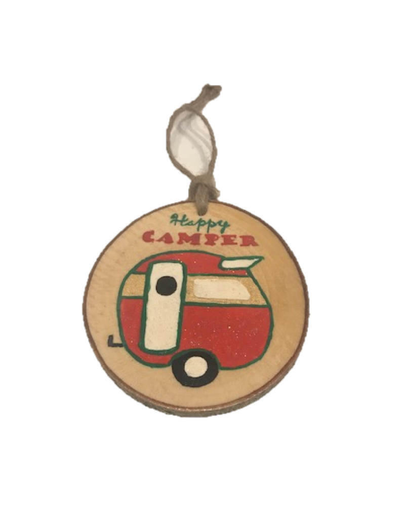 CraftCesi Handmade Ornament Happy Camper Multi M
