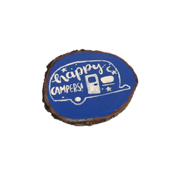 Handmade Magnet Large Happy Camper Blue