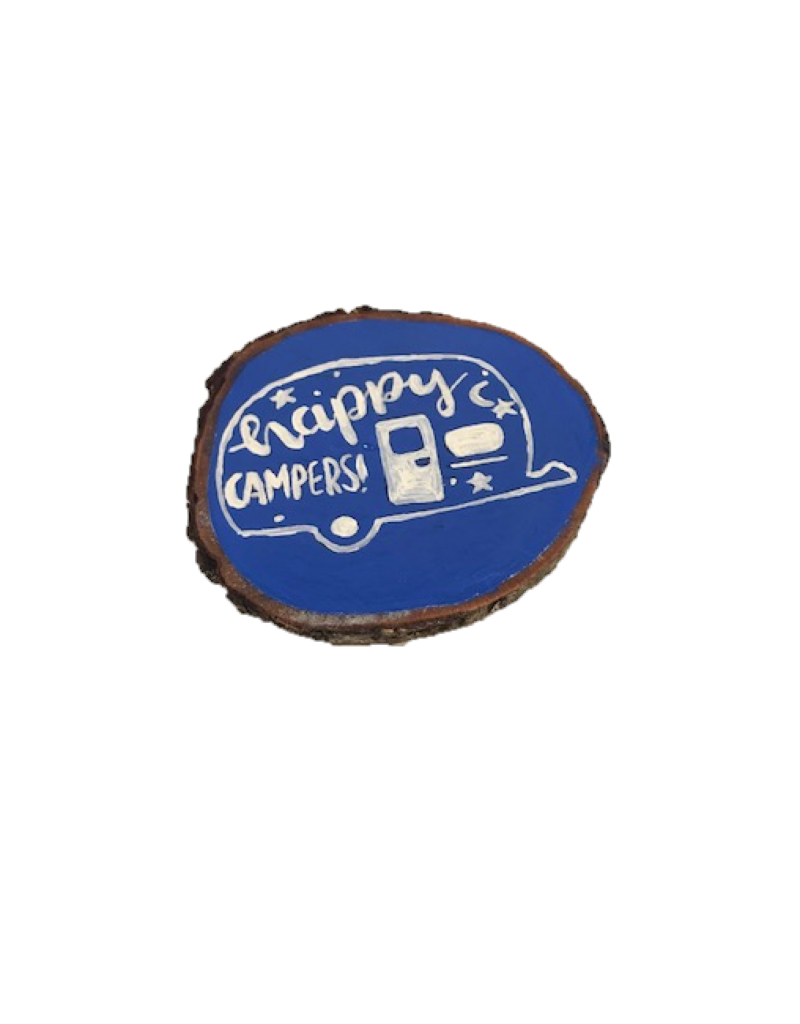 CraftCesi Handmade Magnet Large Happy Camper Blue