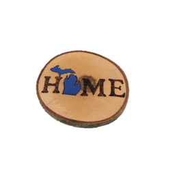 Handmade Magnet Large MI Home Blue