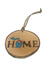 Handmade Ornament Michigan Home Blue M