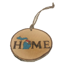 Handmade Ornament Michigan Home Blue M