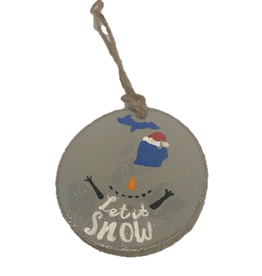 Handmade Ornament Let It Snow Grey M