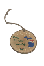 Handmade Ornament Baby It's Cold Outside Green M