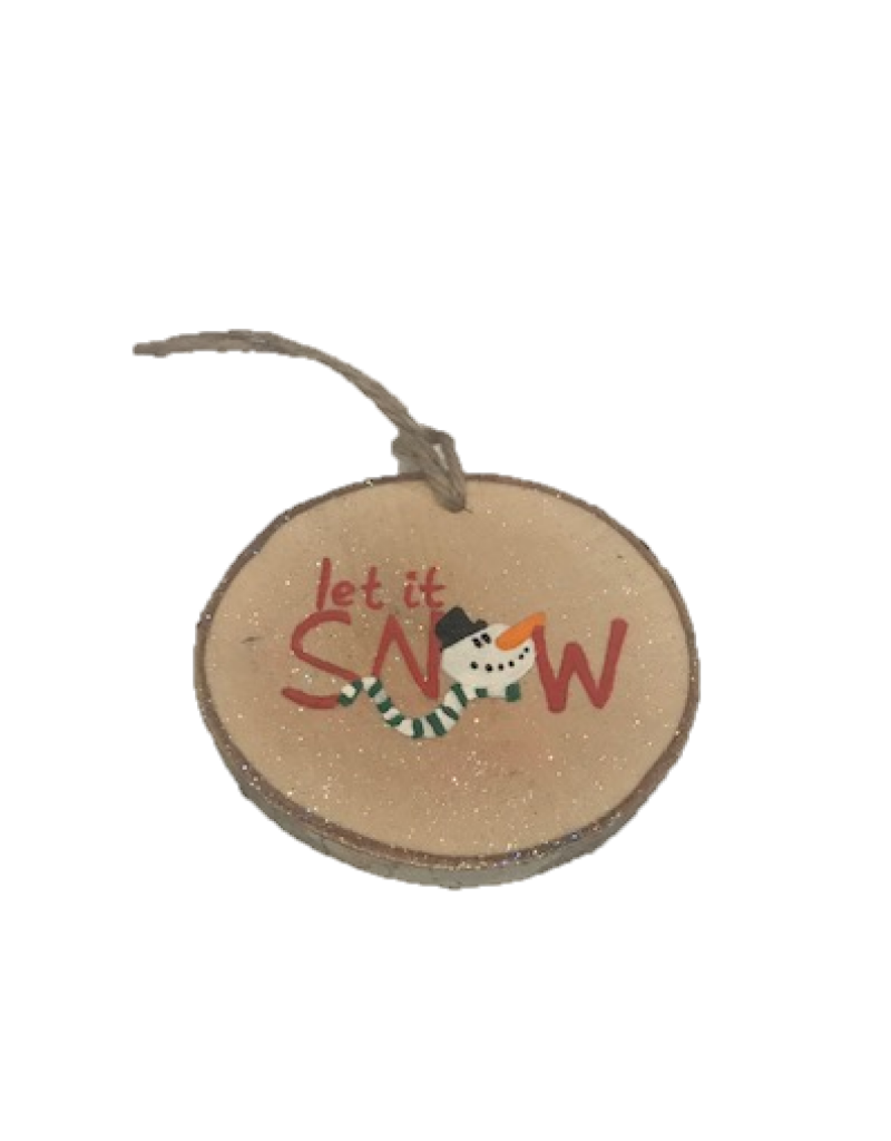 Handmade Ornament Let It Snow Red M