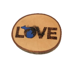 Handmade Magnet Large MI Love Blue