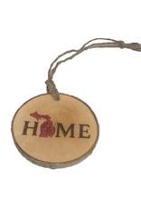 Handmade Ornament Michigan Home Red M