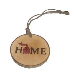 Handmade Ornament Michigan Home Red M