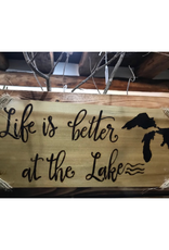 "CraftCesi Handmade ""Life is Better at the Lake"" Sign"
