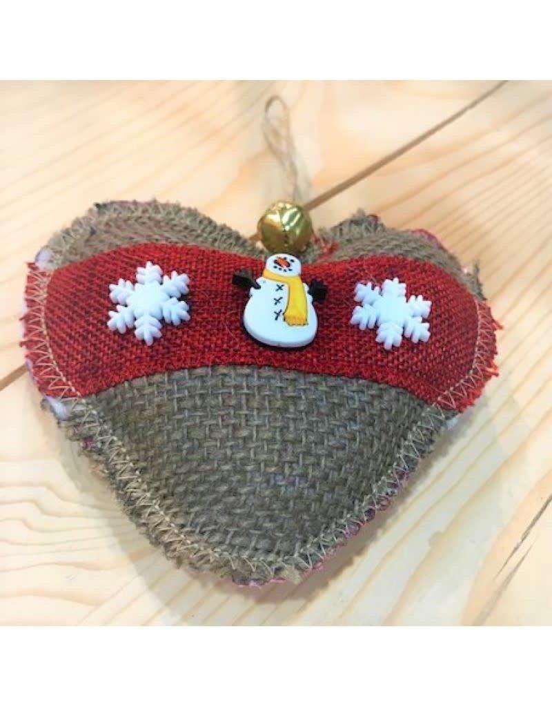 CraftCesi Handmade Ornament - Burlap Heart