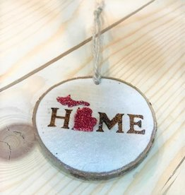CraftCesi Handmade Ornament - Michigan Home Red
