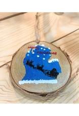 CraftCesi Handmade Ornament - Michigan Santa Sleigh