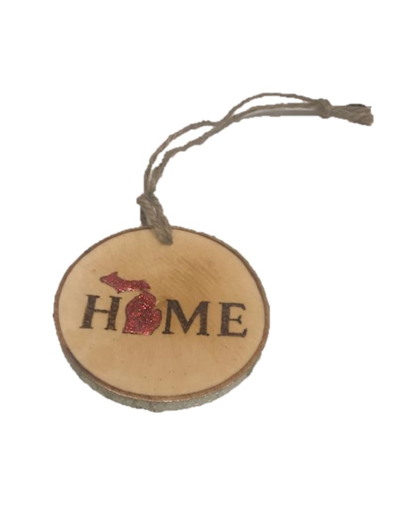 CraftCesi Handmade Ornament - Michigan Home Red