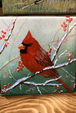 Ron Wetzel Art Handpainted Tile - Cardinal in Winter II