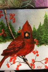 Ron Wetzel Art Handpainted Tile - Winter Cardinal IV