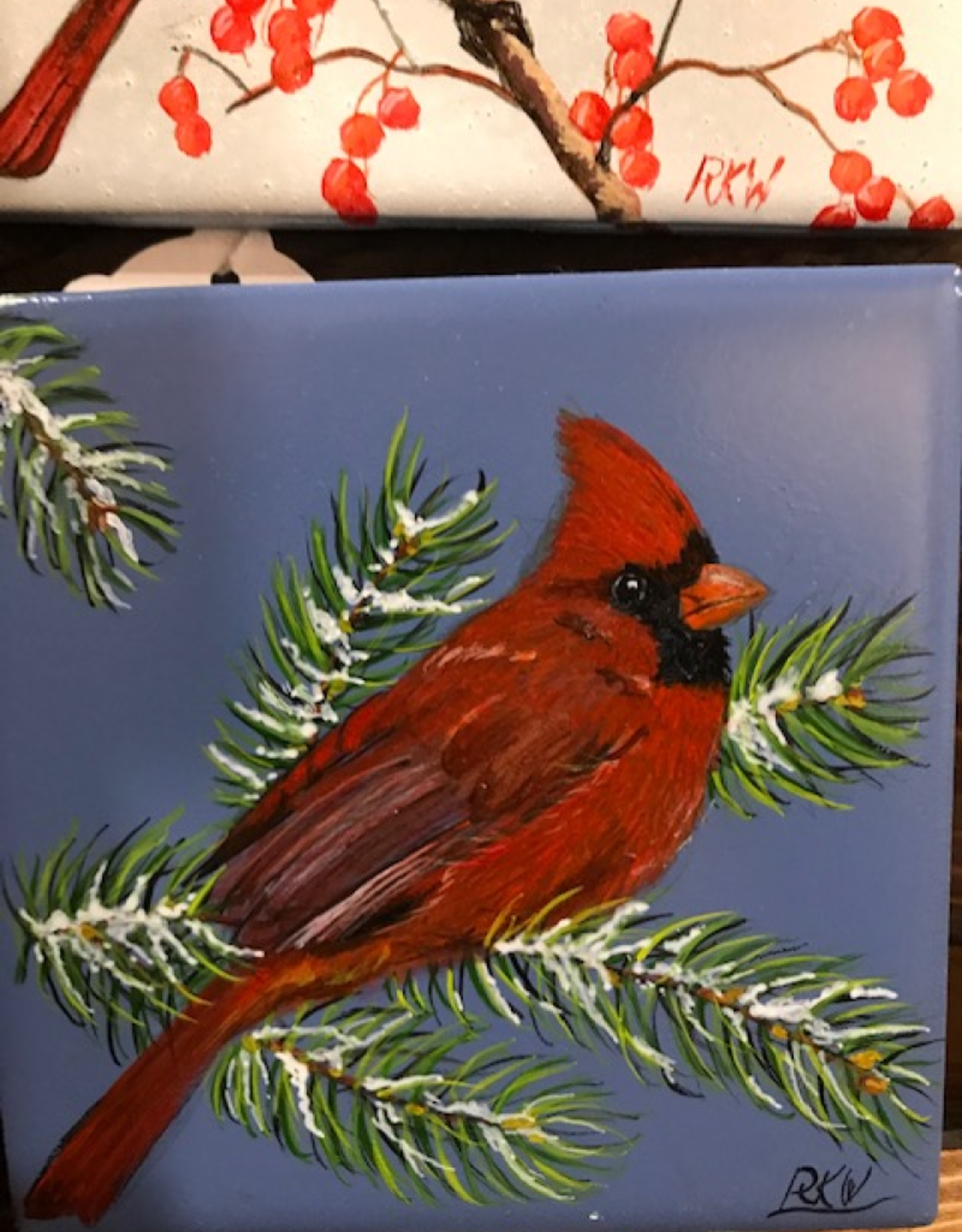 Ron Wetzel Art Handpainted Tile - Winter Cardinal III
