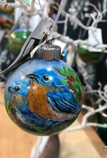 Ron Wetzel Art Handpainted Ornament - Bluebirds 2
