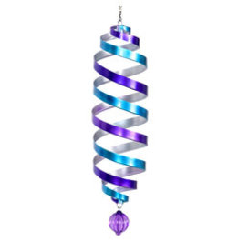 Blue and Purple Metal Hanging Spinner Cylinder