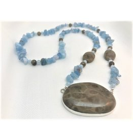Cabochon Necklace - Petoskey Stone Pendant & Aquamarine