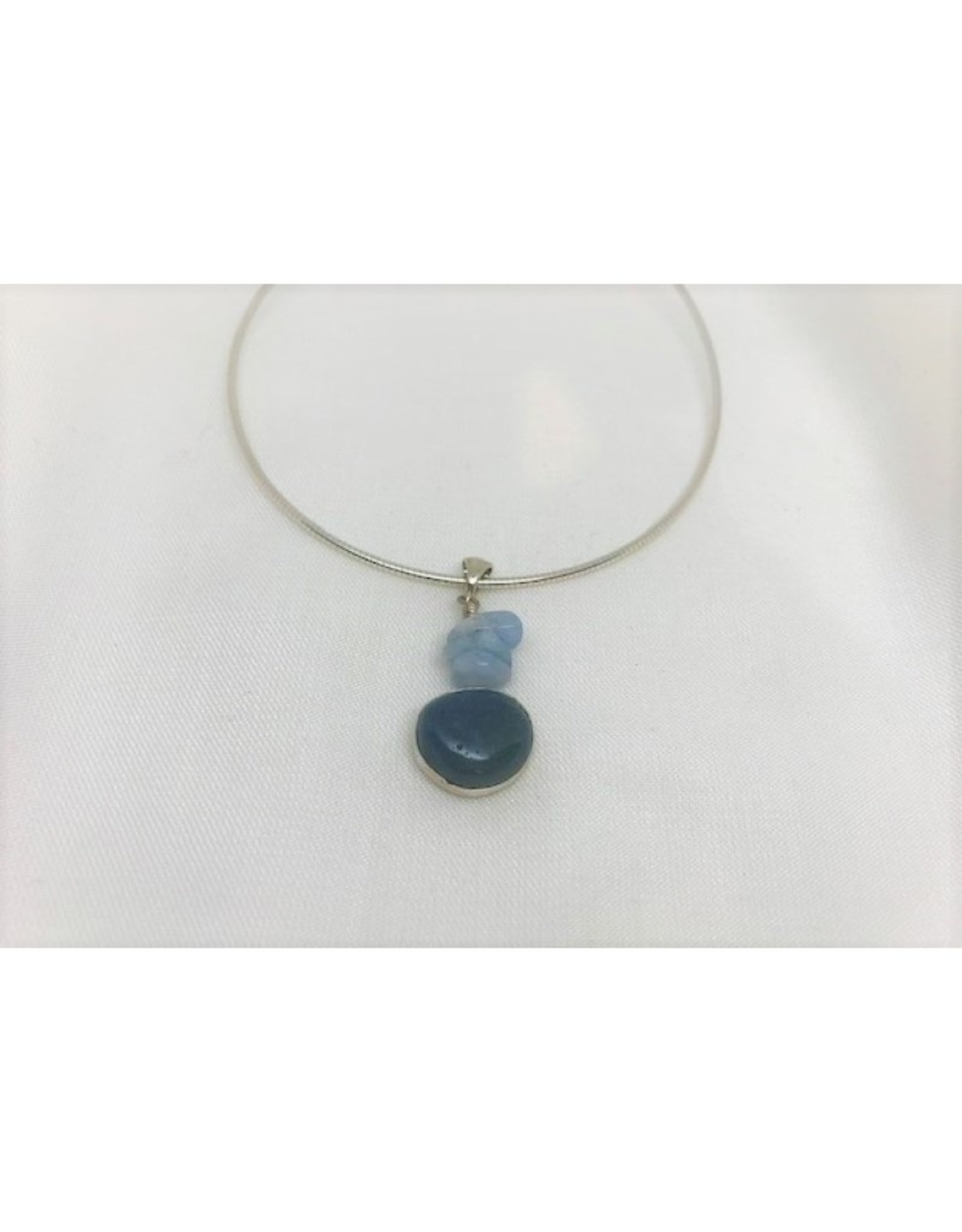 Cabochon Necklace Pendant - Aquamarine & Leland Blue