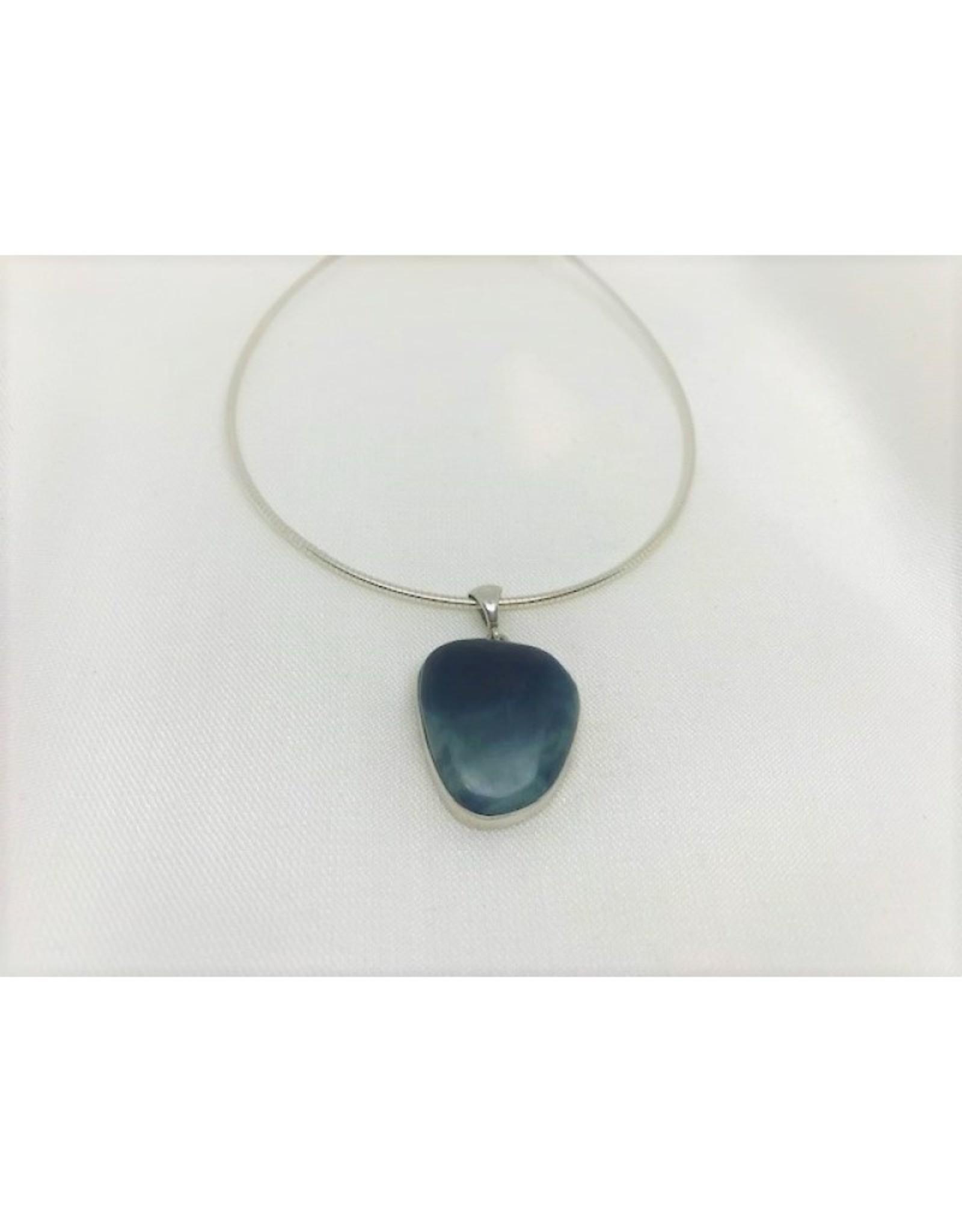 Cabochon Necklace Pendant - Leland Blue 1.1''