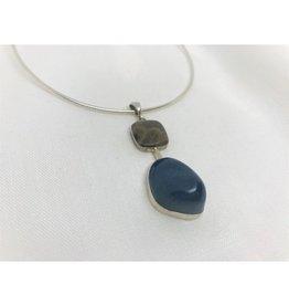 Cabochon Necklace Pendant - Petoskey Stone & Leland Blue