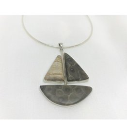 Boat Necklace Pendant - Petoskey & Chert