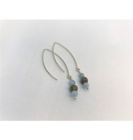 Drop Earrings - Petoskey Stone & Aquamarine