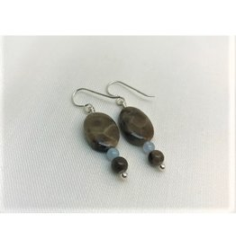 French Hook Earrings - Petoskey Stone Square & Aquamarine