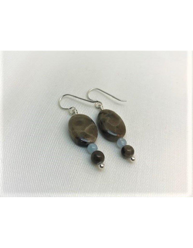 Drop Earrings - Petoskey Stone Square & Aquamarine