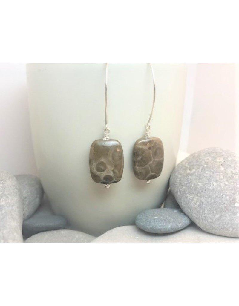 Drop Earrings - Petoskey Stone Square